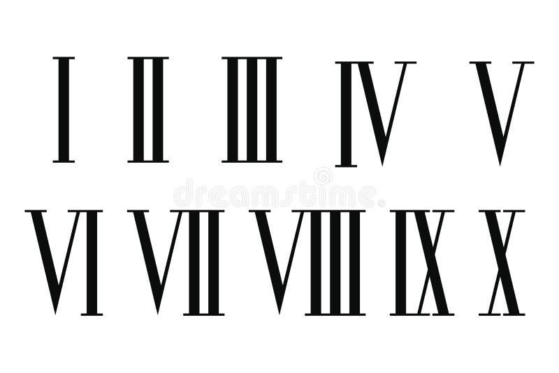Uppsättning för romerska tal stock illustrationer