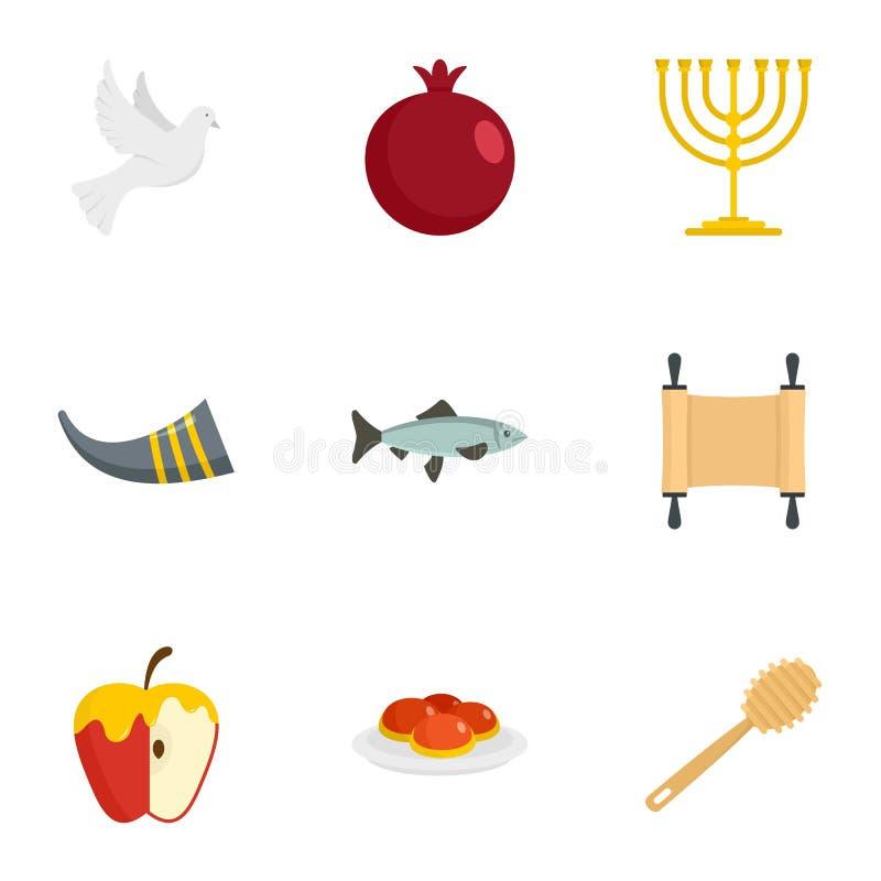Uppsättning för Rosh hashanahsymbol, lägenhetstil vektor illustrationer