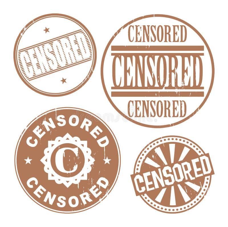 Uppsättning för rubber stämpel för Grunge med den censurerade texten stock illustrationer