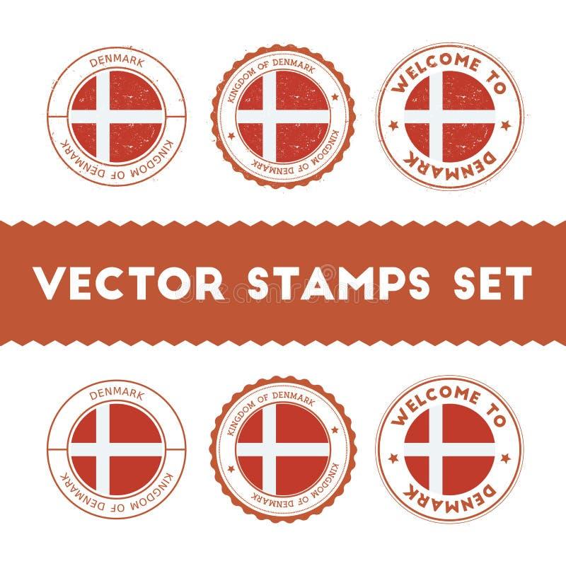 Uppsättning för rubber stämplar för danskaflagga stock illustrationer