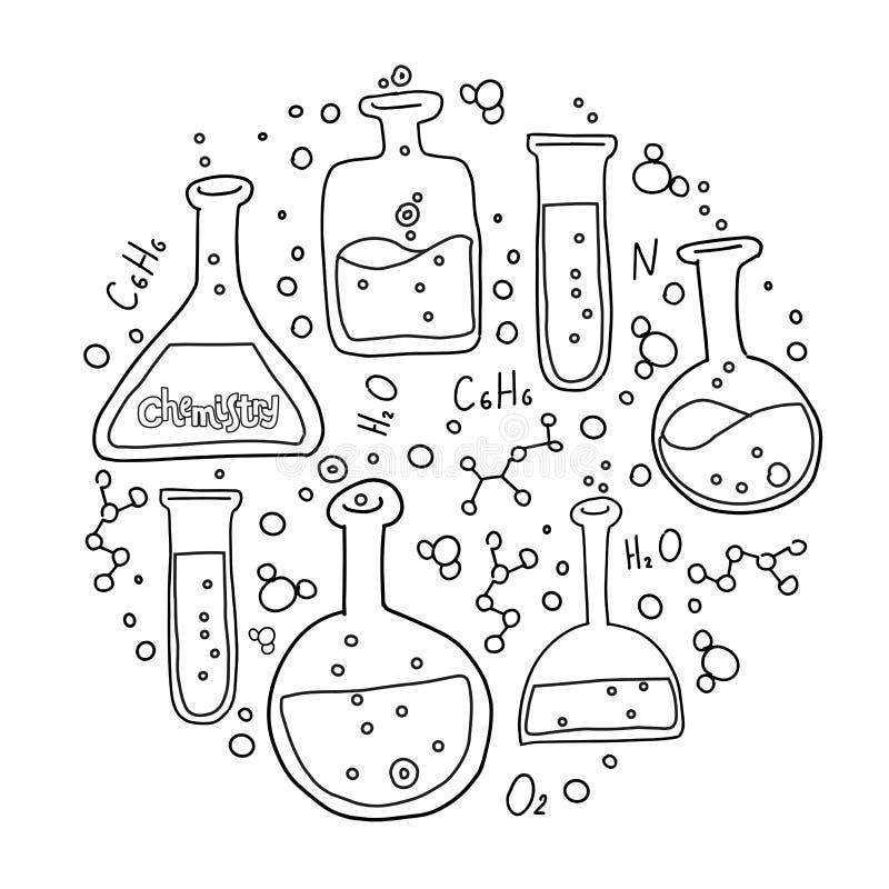 Uppsättning för rund form av laboratoriumutrustning i svartvit skisserad klotterstil Trycksammansättning av utdragen kemi för han vektor illustrationer