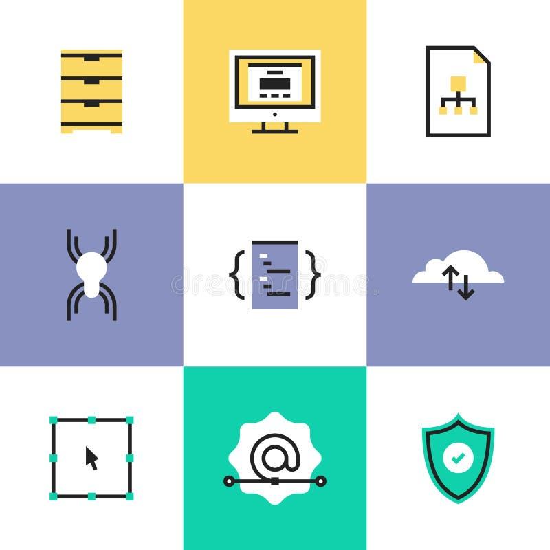 Uppsättning för säkerhets- och rengöringsdukutvecklingspictogramsymboler royaltyfri illustrationer