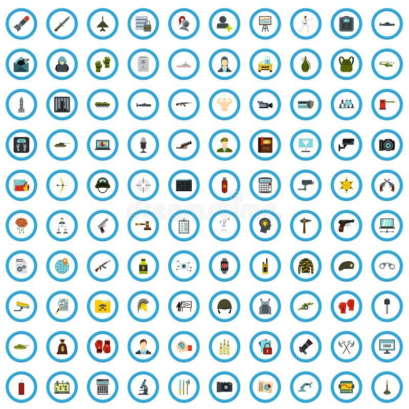 uppsättning för 100 säkerhetsutredningsymboler, plan stil vektor illustrationer