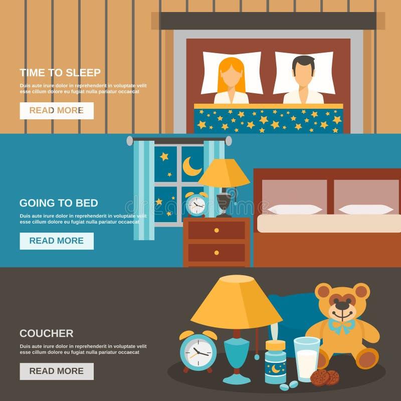 Uppsättning för sömnTid baner royaltyfri illustrationer