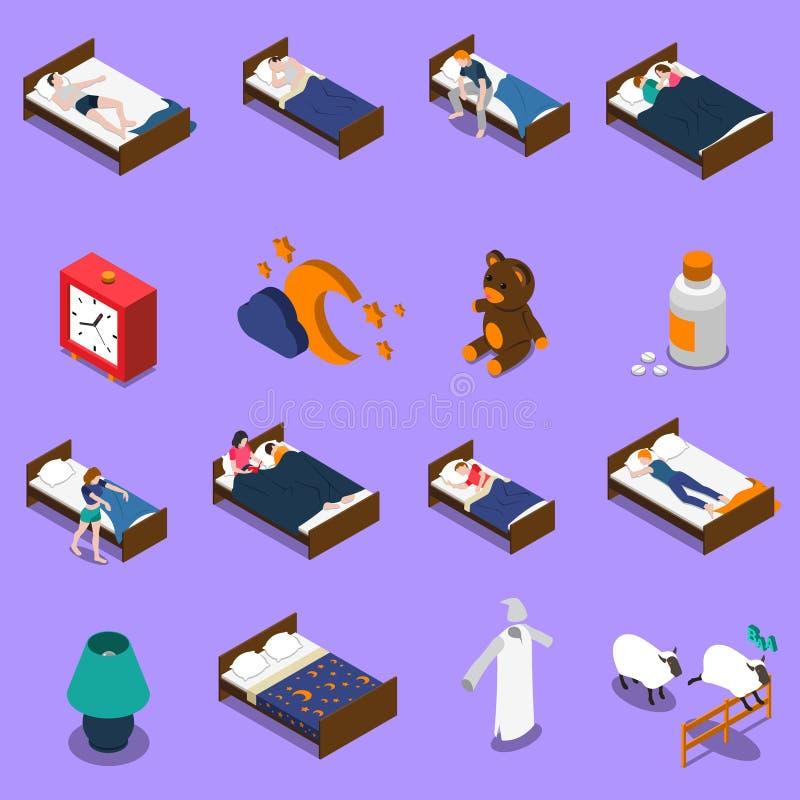 Uppsättning för sömnTid isometrisk symboler royaltyfri illustrationer