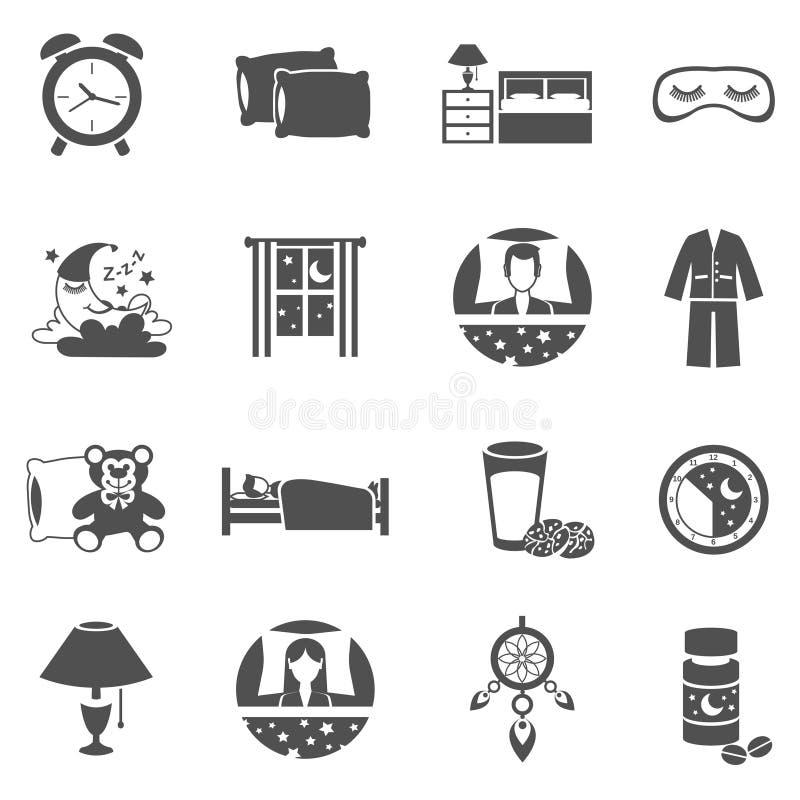 Uppsättning för sömnTid symboler vektor illustrationer