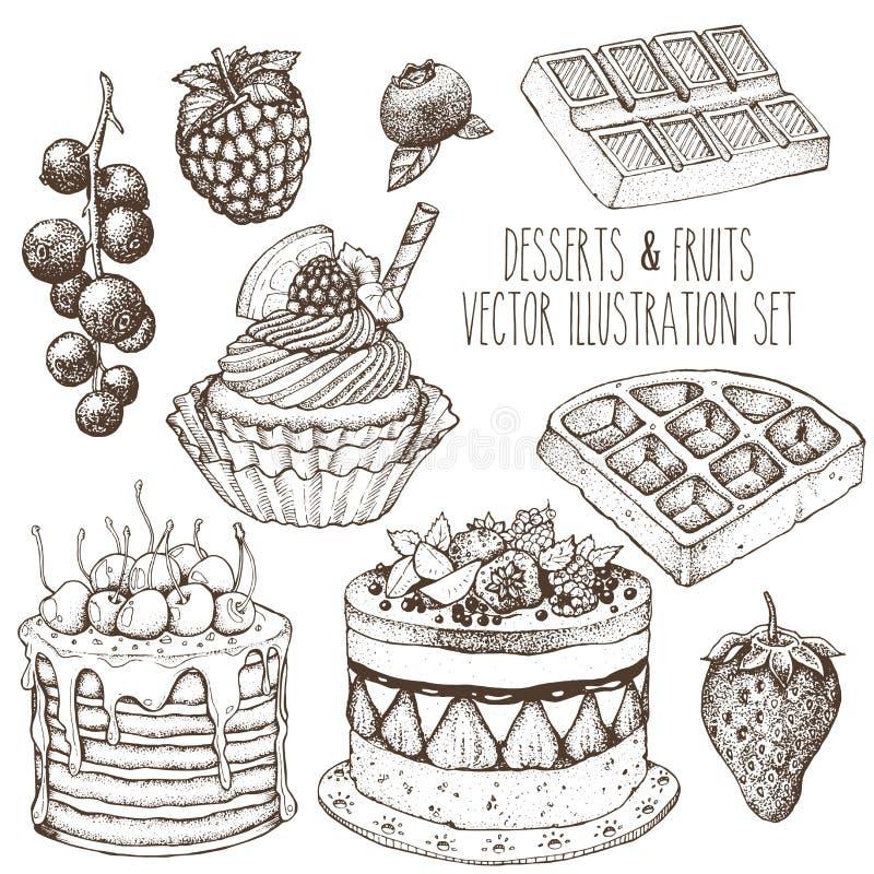 Uppsättning för sötsak för efterrättfrukt Kaka muffin, dillande, jordgubbe, hallon, blåbär, vinbär Skissa drog illustrationen för royaltyfria bilder
