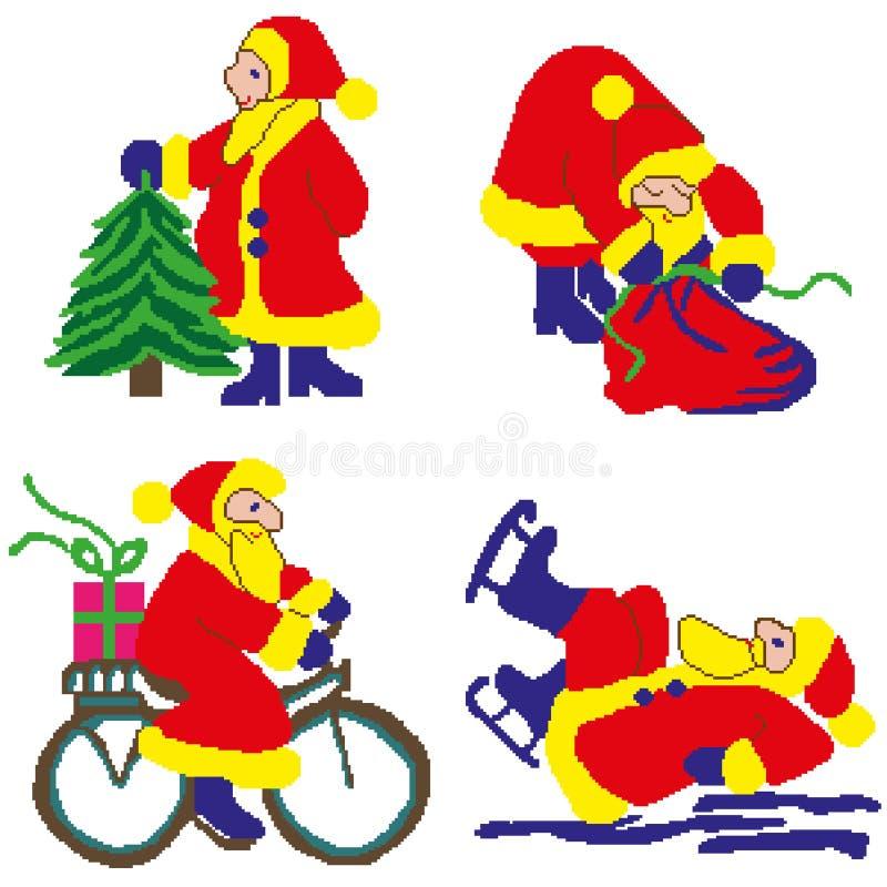 Uppsättning för ` s för nytt år av Santa Clauses i olika variationer, i skridskor, med en julgran, med en påse av gåvor, på en cy vektor illustrationer