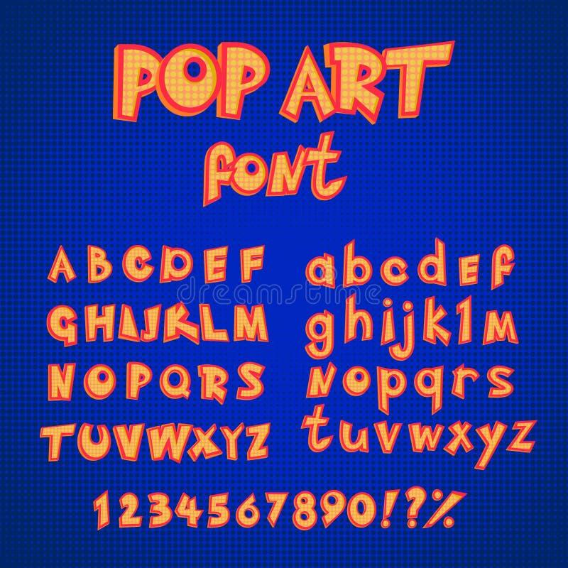 Uppsättning för samling för alfabet för stil för komiker för popkonst huvud- och små bokstäver med nummer vektorabc i retro stil royaltyfri illustrationer