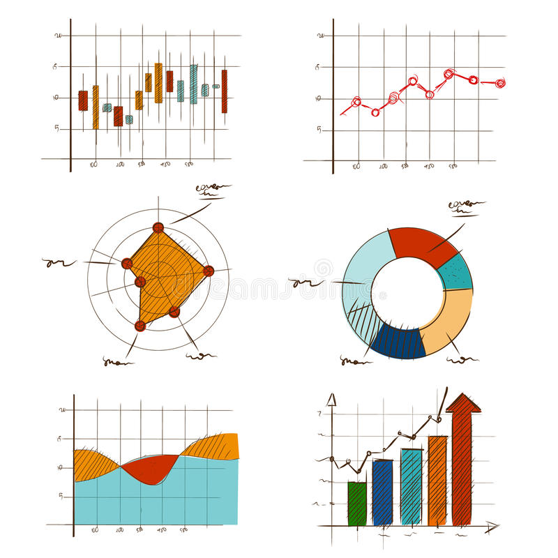Uppsättning för samling för handteckningsdiagram grafisk för affärs- och statistikutbildning liksom radar, stearinljuspinne, munk stock illustrationer