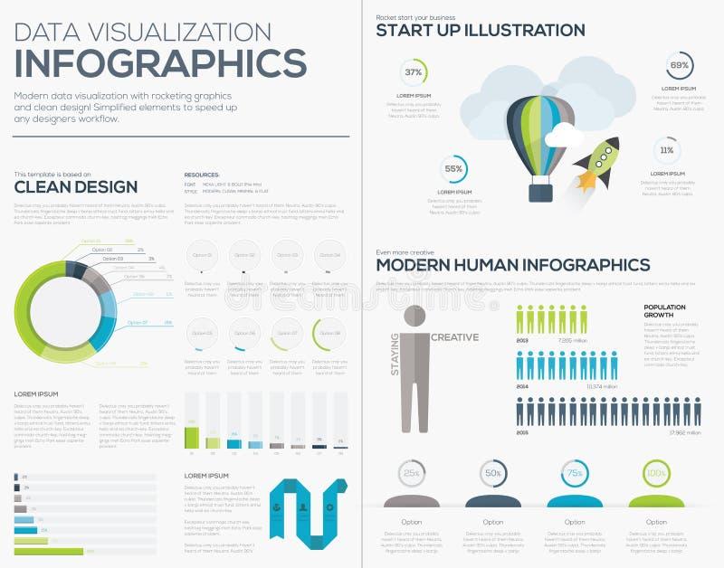Uppsättning för samling för illustration för vektor för affärsstart infographic vektor illustrationer