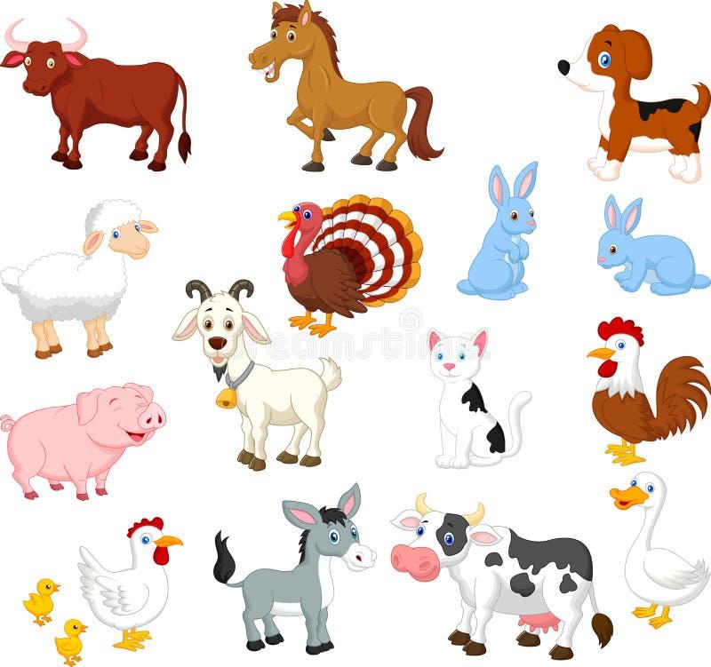 Uppsättning för samling för lantgårddjur royaltyfri illustrationer