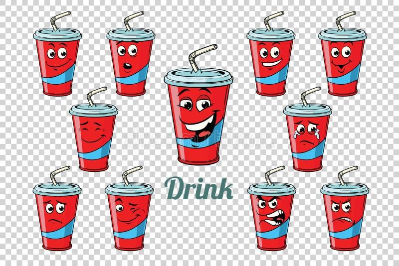 Uppsättning för samling för tecken för sinnesrörelser för drinkColarör royaltyfri illustrationer