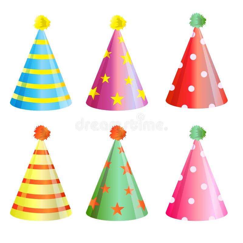 Uppsättning för samling för hatt för födelsedagparti royaltyfri illustrationer
