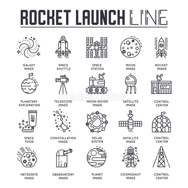 Uppsättning för samling för raketöversiktssymboler Linjär symbolpacke för bransch Modern mall av den tunna linjen symboler, logo, vektor illustrationer