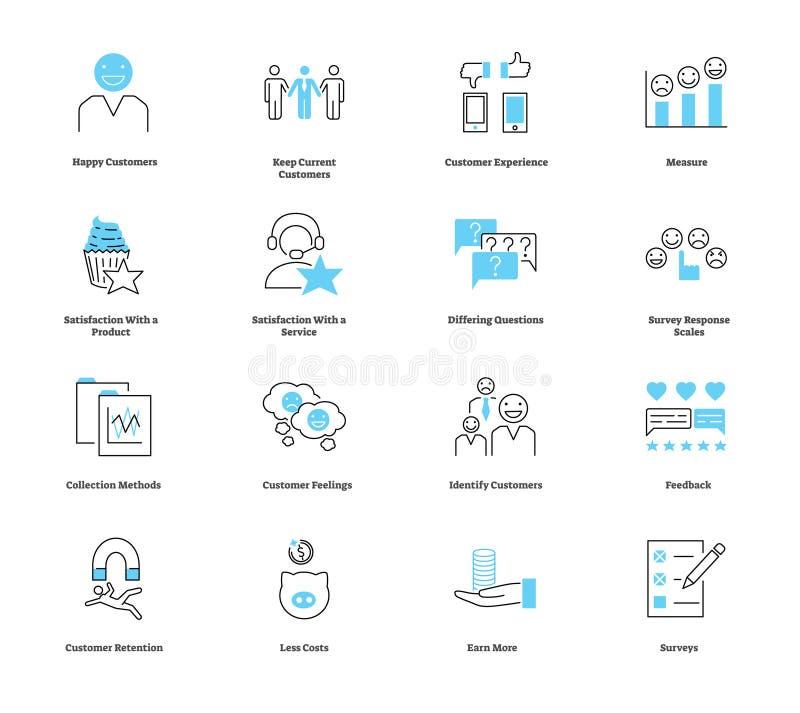 Uppsättning för samling för symbol för kundtillfredsställelse Vektorillustration med symboler stock illustrationer