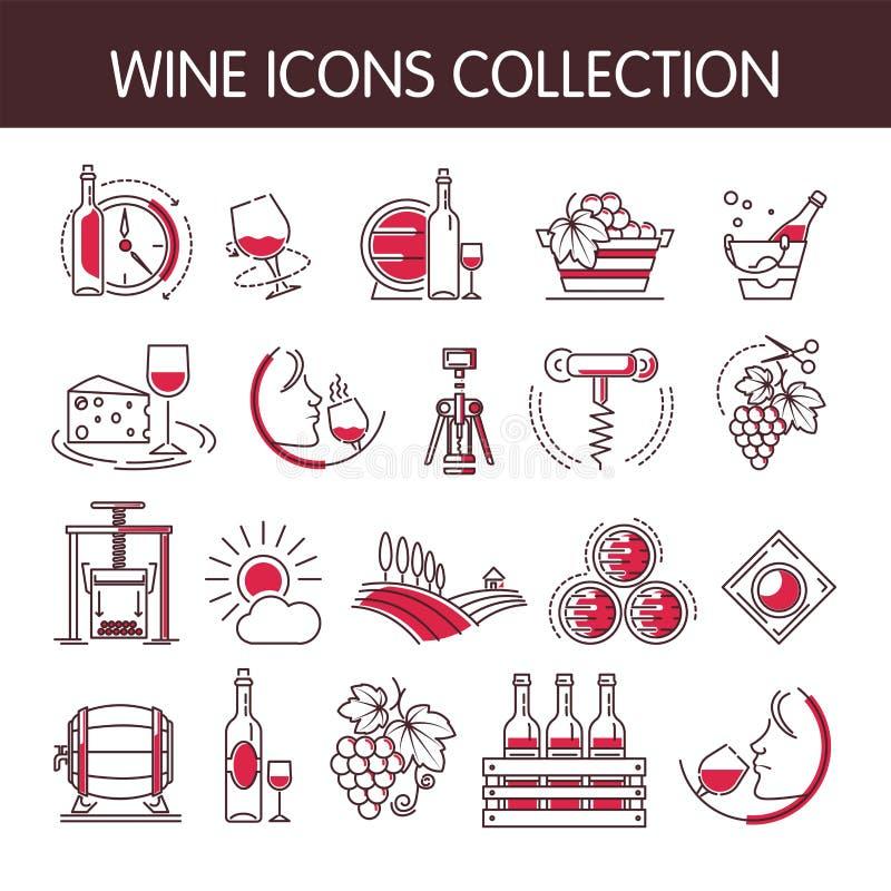 Uppsättning för samling för vinsymbolsvektor för winemaking eller vinodlingproduktionbransch stock illustrationer