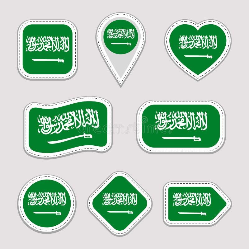 Uppsättning för Saudiarabien flaggavektor Saudi Arabian sjunker klistermärkesamlingen Isolerade geometriska symboler Emblem för n stock illustrationer