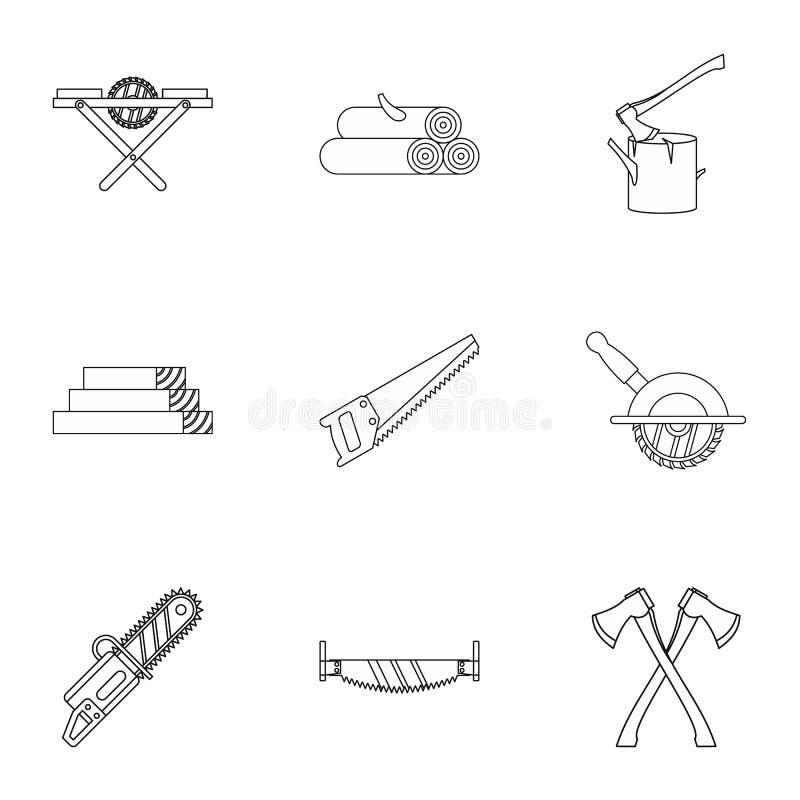 Uppsättning för sawingträsymboler, översiktsstil royaltyfri illustrationer