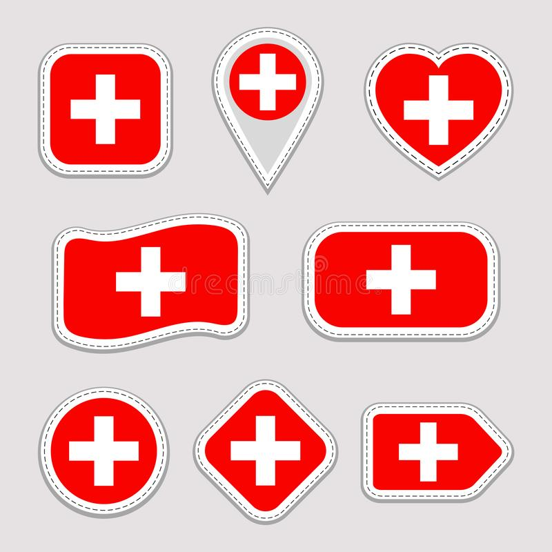 Uppsättning för Schweiz flaggavektor Schweizisk nationsflaggaklistermärkesamling Vektor isolerade geometriska symboler Rengörings royaltyfri illustrationer