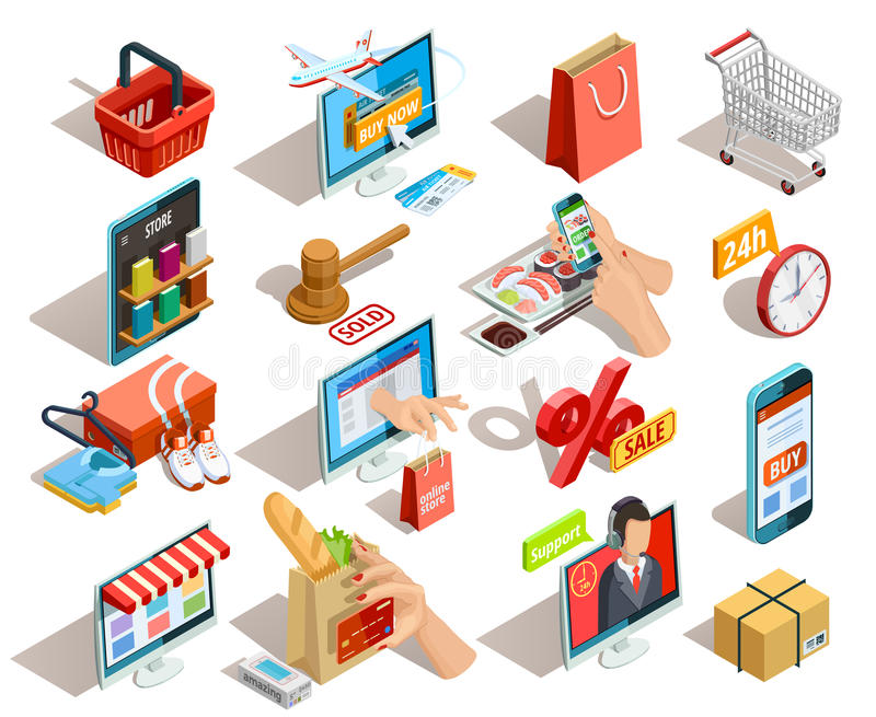 Uppsättning för shoppingE-kommers isometrisk symboler royaltyfri illustrationer
