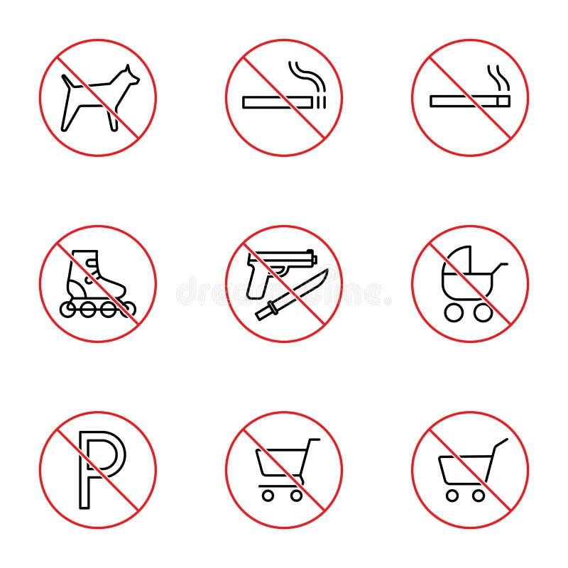 Uppsättning för shoppinggalleriaförbudtecken på vit bakgrund vektor illustrationer