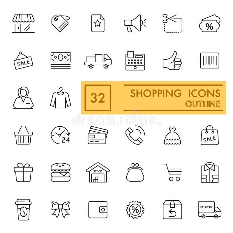 Uppsättning för shoppingvektorsymboler Tunna plana symboler, översiktsdesign 10 eps royaltyfri illustrationer
