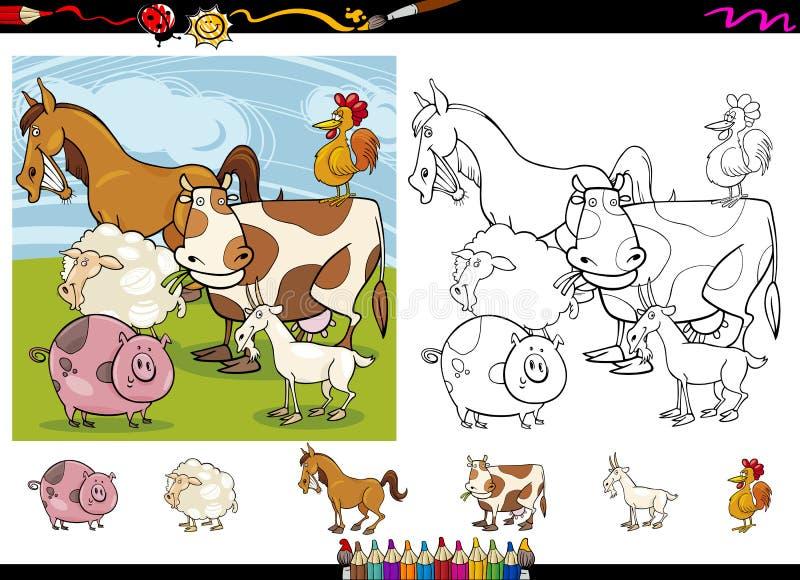 Uppsättning för sida för färgläggning för tecknad film för lantgårddjur royaltyfri illustrationer
