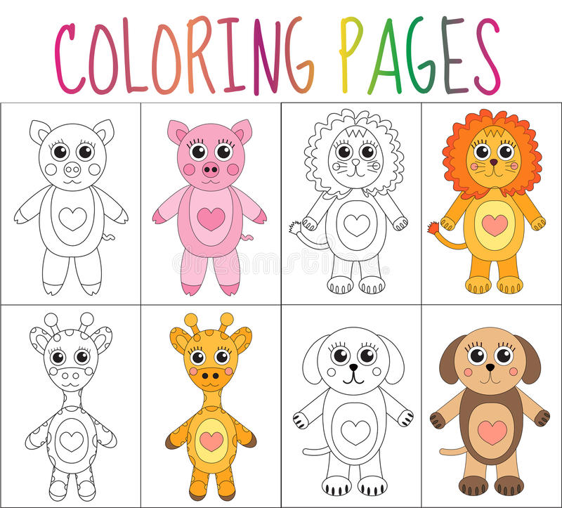 Uppsättning för sida för färgläggningbok Illustration av tecknad filmhästen, nyckelpiga, späckhuggare, flodhäst, igelkott, hamste royaltyfri illustrationer