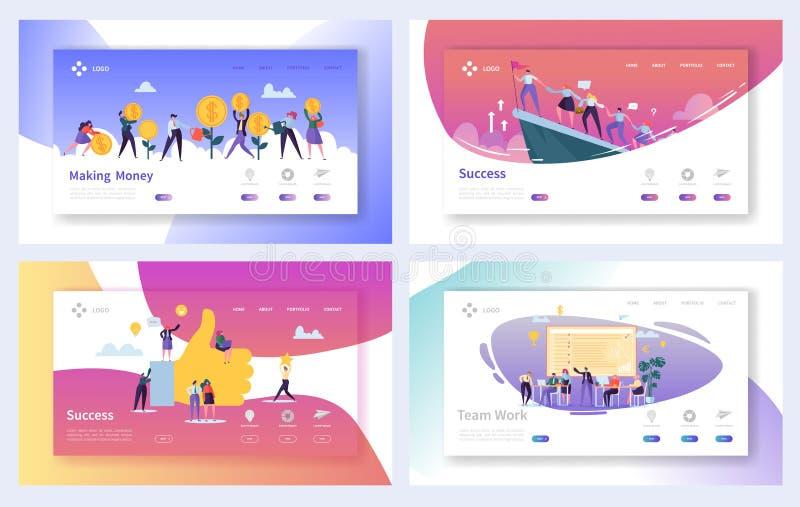 Uppsättning för sida för landning för framgång för teamworkaffärsarbete Ledare Character Concept för motivationmarknadsföringsled vektor illustrationer