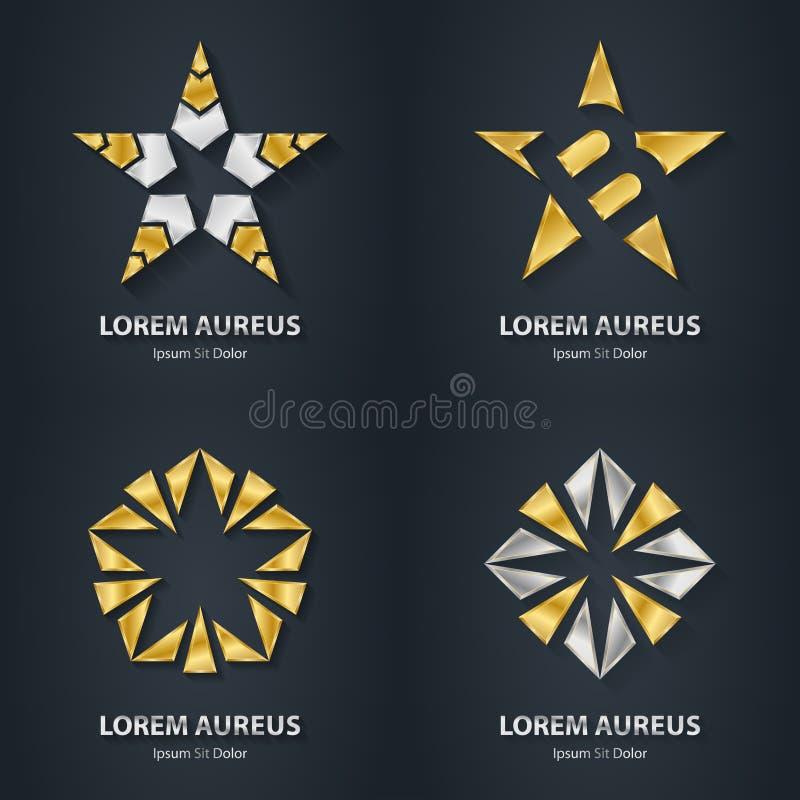 Uppsättning för silver- och guldstjärnalogo Symbol för utmärkelse 3d Metallisk logotyp royaltyfri illustrationer