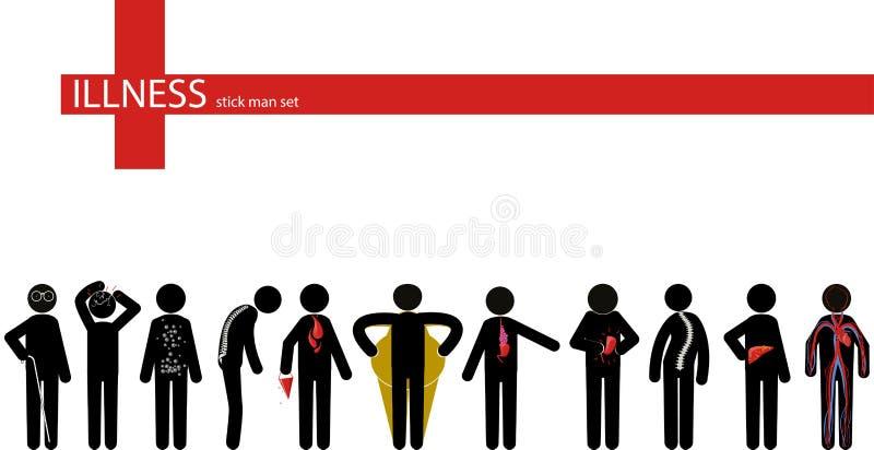 Uppsättning för sjukdompinneman royaltyfri illustrationer