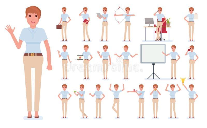 Uppsättning för skapelse för tecken för affärskvinna Bygg din egen design Tecknad filmlägenhet-stil infographic illustration som  stock illustrationer