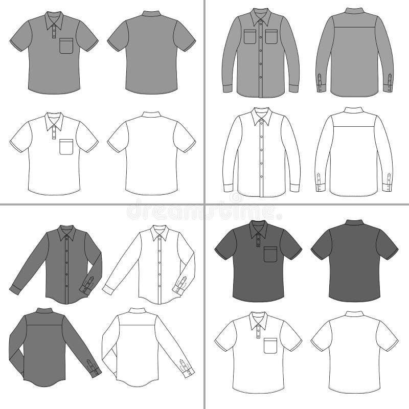 Uppsättning för skjorta för man` s royaltyfri illustrationer