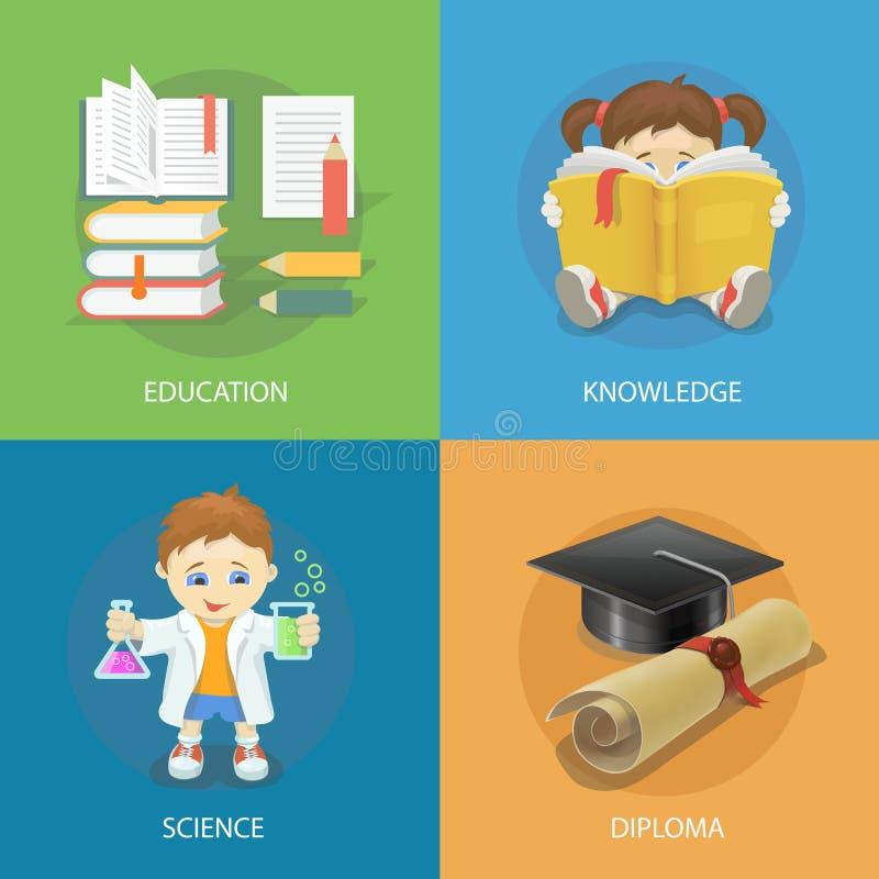 Uppsättning för skoladesignbegrepp med symboler för lägenhet för utbildningsdiplomstudie stock illustrationer