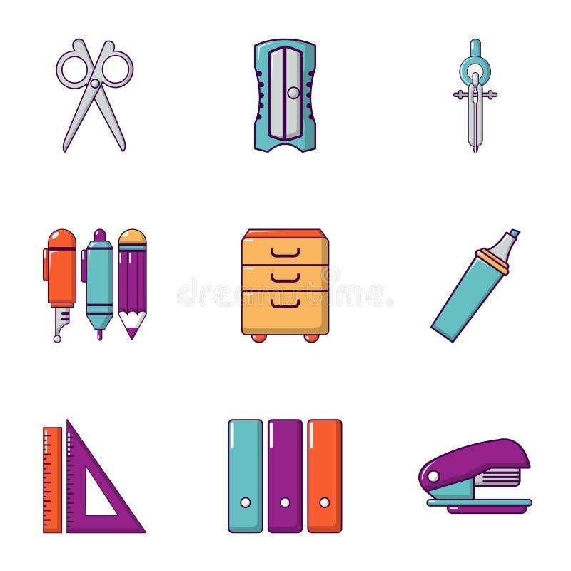 Uppsättning för skolamaterialsymboler, lägenhetstil stock illustrationer