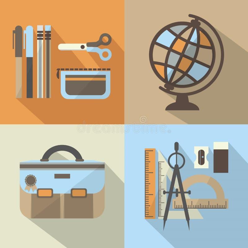 Uppsättning för skolamaterialsymboler med lång skugga vektor illustrationer