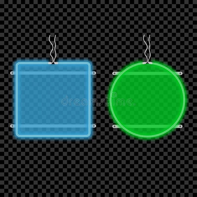 Uppsättning för skylt för neonljus Glöda och ljust advertizingtecken med utrymme för text också vektor för coreldrawillustration vektor illustrationer