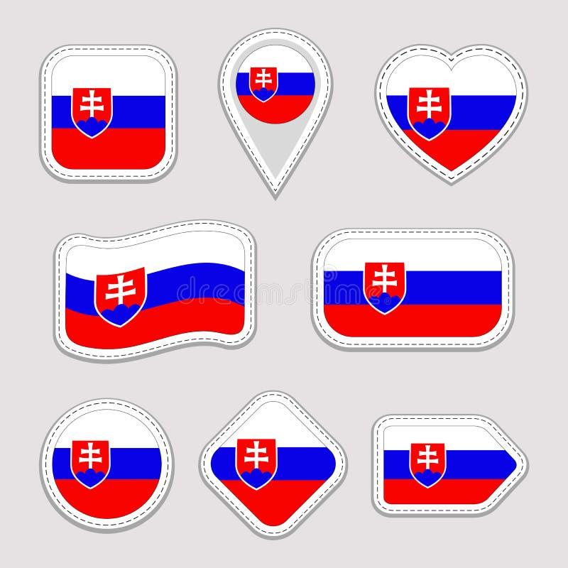 Uppsättning för Slovakien flaggavektor Slovakisk flaggaklistermärkesamling Isolerade geometriska symboler Emblem för nationella s royaltyfri illustrationer