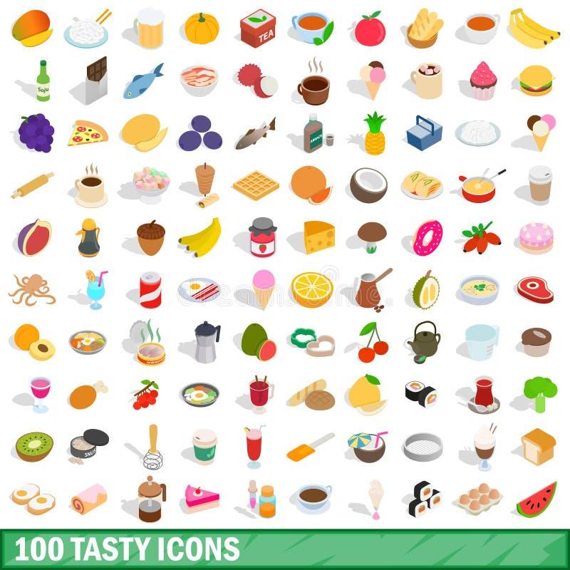 uppsättning för 100 smaklig symboler, isometrisk stil 3d vektor illustrationer