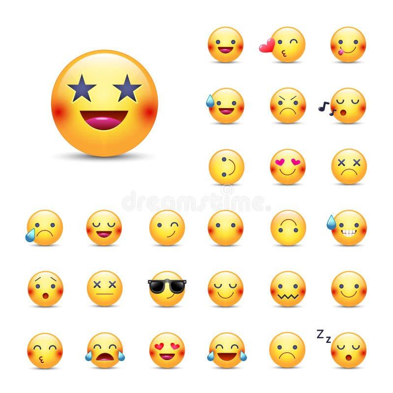 Uppsättning för Smileysvektorsymbol Emoticonspacke stock illustrationer