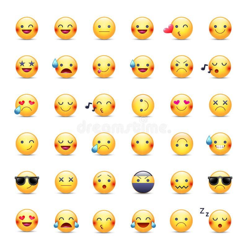 Uppsättning för Smileysvektorsymbol Emoticonspictograms Lyckligt, glat och att sjunga, för gråt, förälskad och annan rund gul smi stock illustrationer