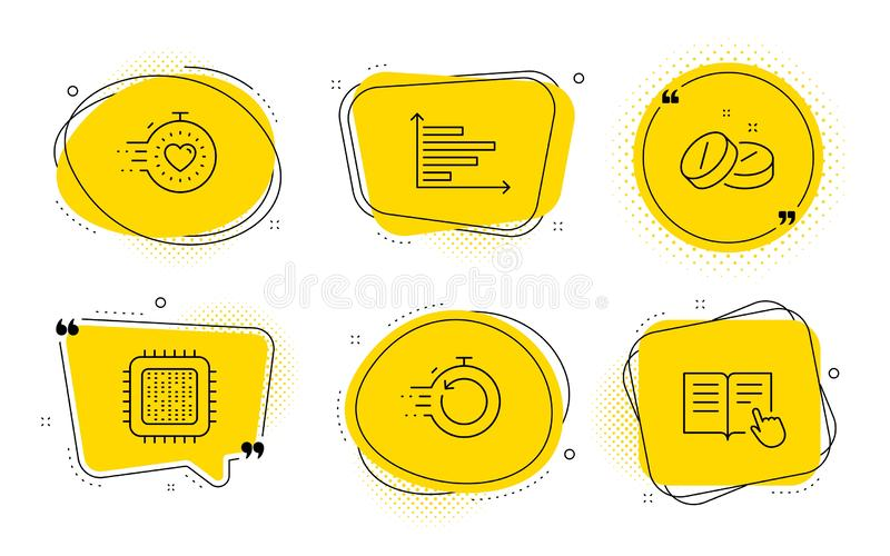 Uppsättning för snabba återställning, symboler för tidmätare och för medicinsk minnestavla Horisontaldiagram, CPU-processor och l stock illustrationer