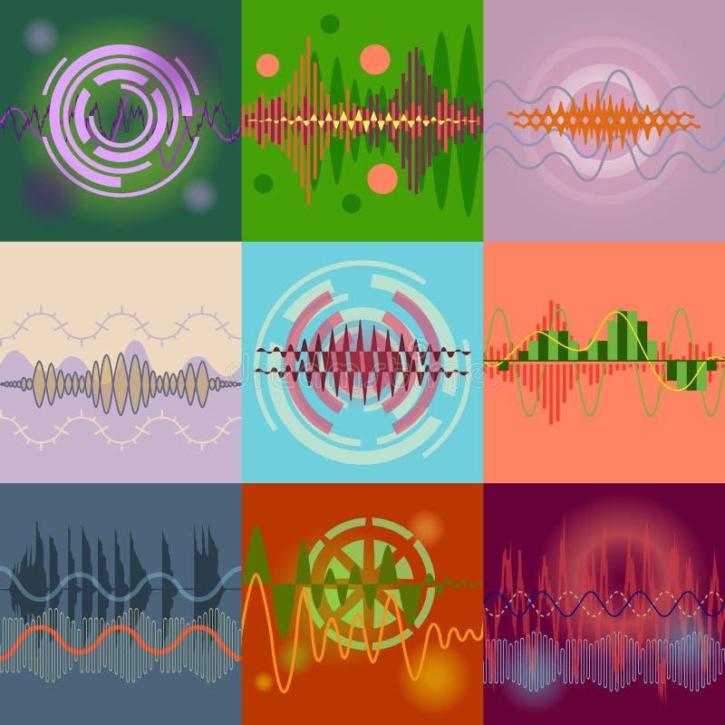 Uppsättning för solida vågor för vektor Ljudsignal equalizertechnology, pulsmusik stock illustrationer