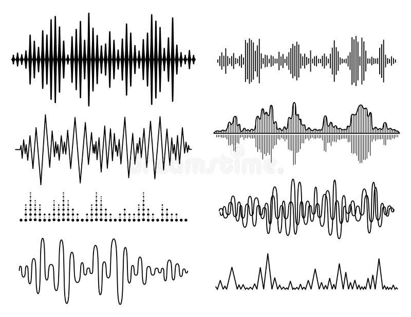 Uppsättning för solida vågor för vektor Ljudsignal spelare Ljudsignal utjämnareteknologi, pulsmusikal också vektor för coreldrawi stock illustrationer