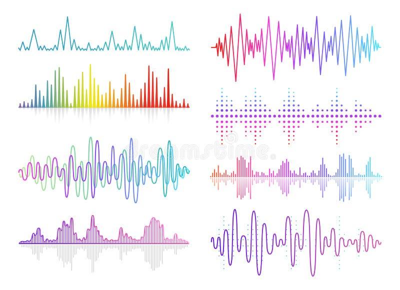 Uppsättning för solida vågor för vektormusik Ljudsignal digital utjämnareteknologi, konsolpanel, pulsmusikal vektor illustrationer