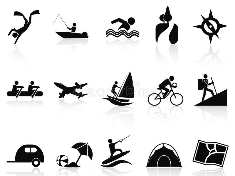 Uppsättning för sommaraktivitetssymboler vektor illustrationer