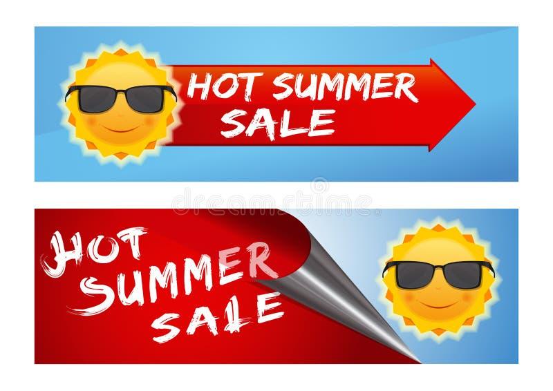 Uppsättning för sommarförsäljningsbaner vektor illustrationer