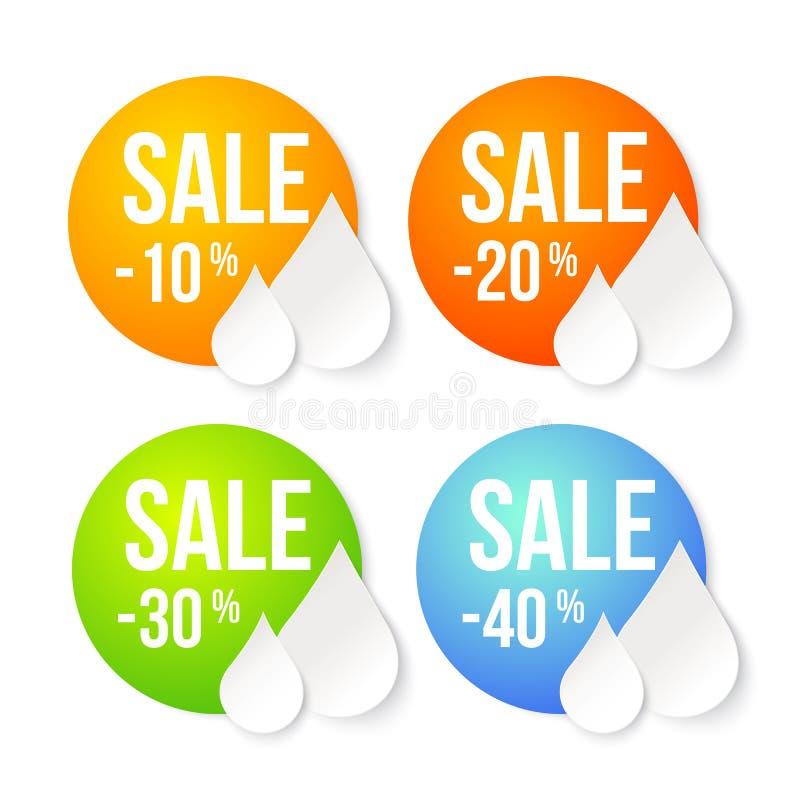 Uppsättning för sommarförsäljningsdesign. vektor illustrationer