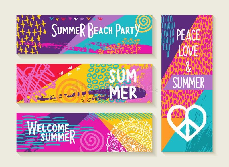 Uppsättning för sommarpartidesign i vibrerande färgpalett stock illustrationer